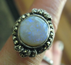 Vintage Victorian Lovely Vintage Victorian Silver Opal Ring with Marcasites - 5.5