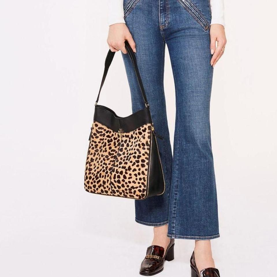 Tory Burch Ivy New Hobo Purse Leopard Black Leather and Calf Hair ... 9aedbbc899c98