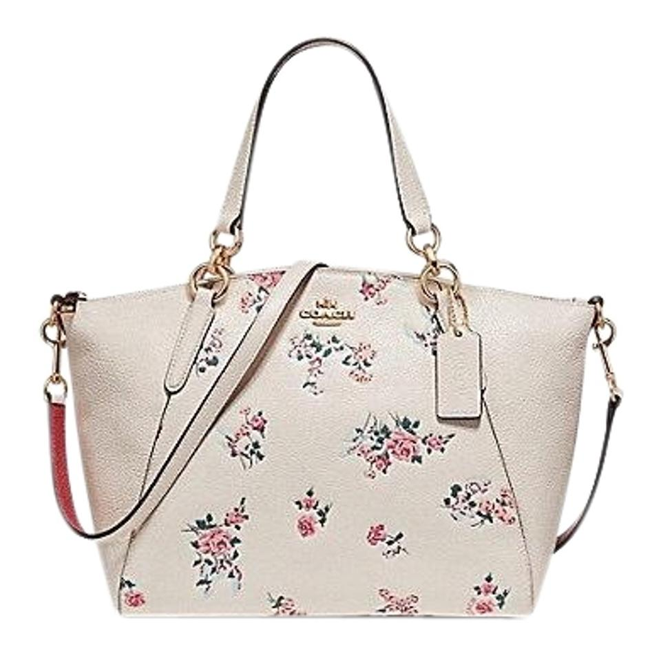 40f7f8be Coach Kelsey Small with Cross Stitch Floral Print Light Gold/Chalk Pebble  Leather Satchel