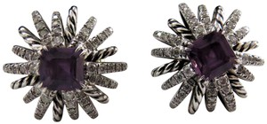 David Yurman Starburst 6mm Amethyst w/Diamonds SS Earrings