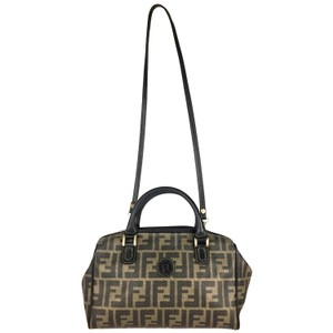 Fendi Vintage Classic Signature Gold Hardware Double Handle Shoulder Bag