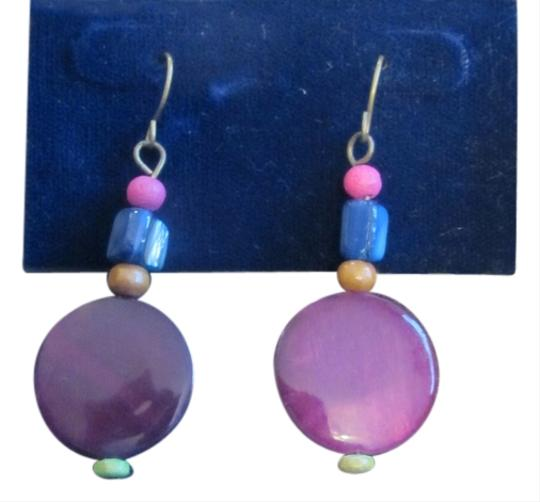 Rosa Clará Rosa Funky Wood & Crystal Purple & Blue Wire Earrings FREE SHIPPING