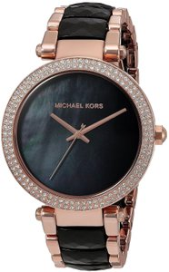 Michael Kors Michael Kors Women's Parker Rose Gold Black Acetate Watch MK6414