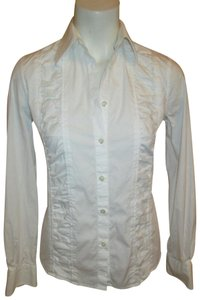 Armani Collezioni Stretchy Cotton Button Down Shirt white