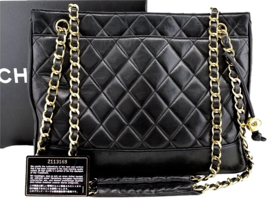 f40435e913c90 Chanel Tote with Gold Tone Chains and Cc Ball Charm Black Lambskin Leather  Shoulder Bag