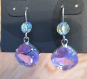 Nordstrom Nordstrom Silver-tone Purple Austrian Crystal Wire Earrings FREE SHIPPING