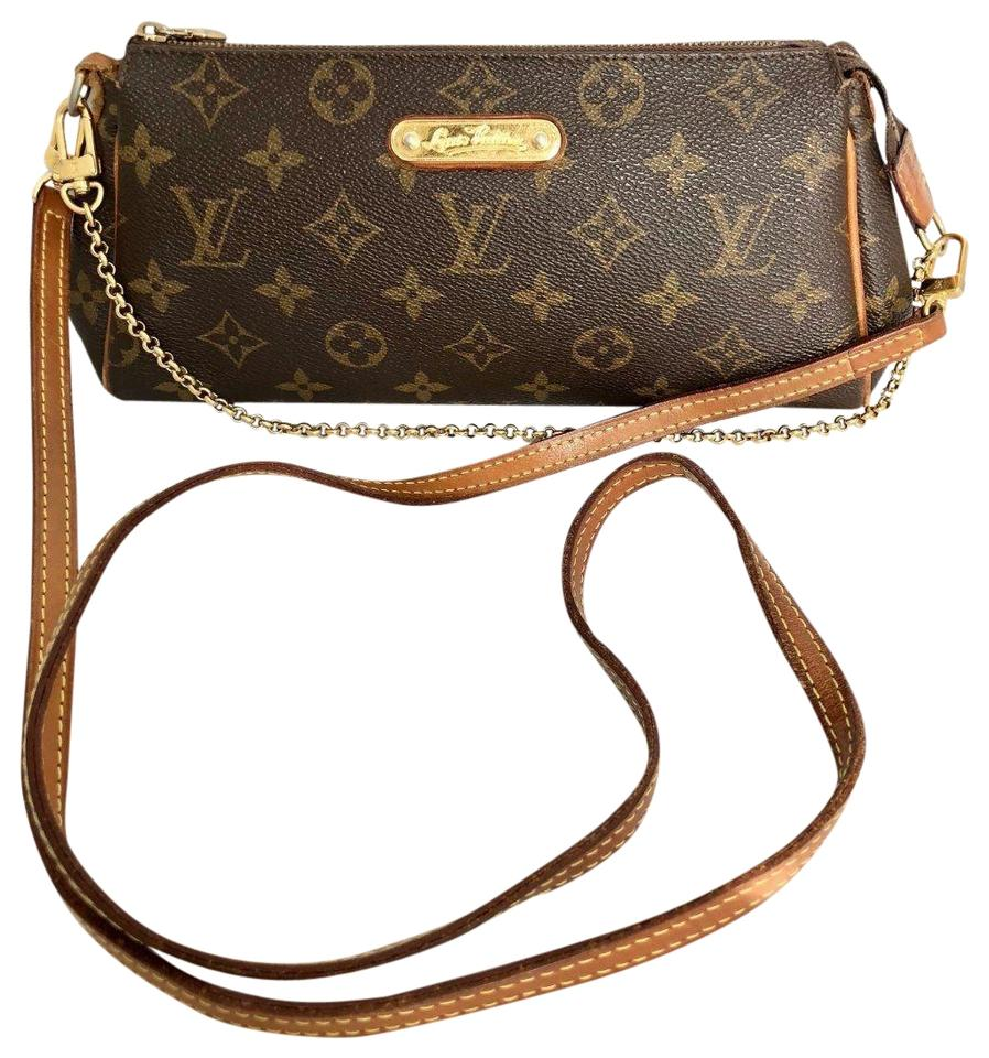 louis vuitton eva with two chains monogram canvas cross body bag tradesy. Black Bedroom Furniture Sets. Home Design Ideas