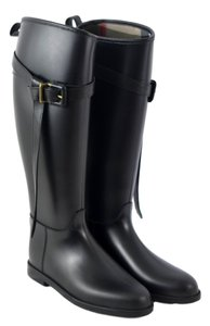 Burberry Tall Rain Rainboots Belted Black Boots