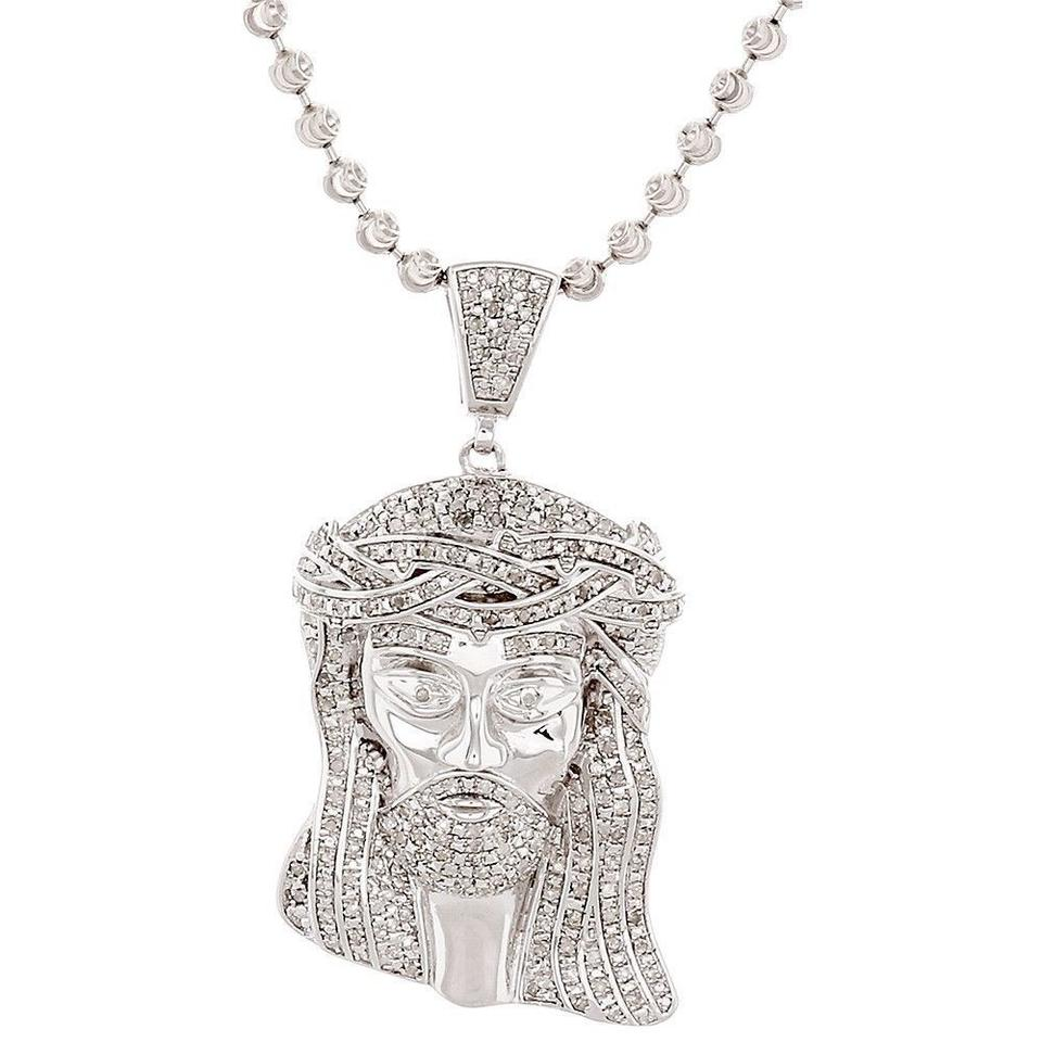 Jewelry For Less Diamond Jesus Face Piece Pendant .925 Charm 1 Ct with  Moon- ... 4219985a6313
