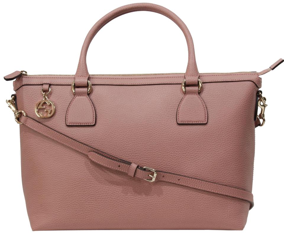 444bf80773fa21 Gucci 449651 Convertible with Interlocking G Charm and Sho Pink Leather  Satchel
