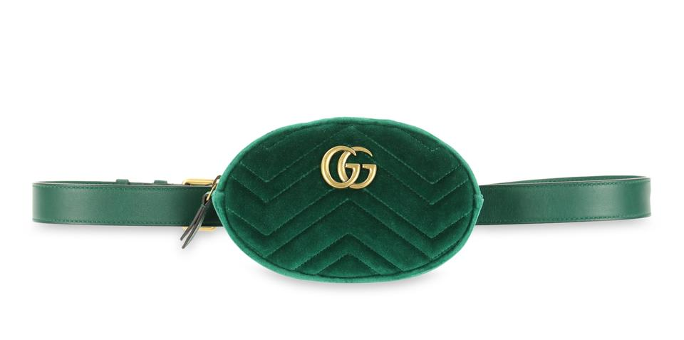 07e7a28e48c Gucci Marmont Waist Green Velvet Cross Body Bag - Tradesy