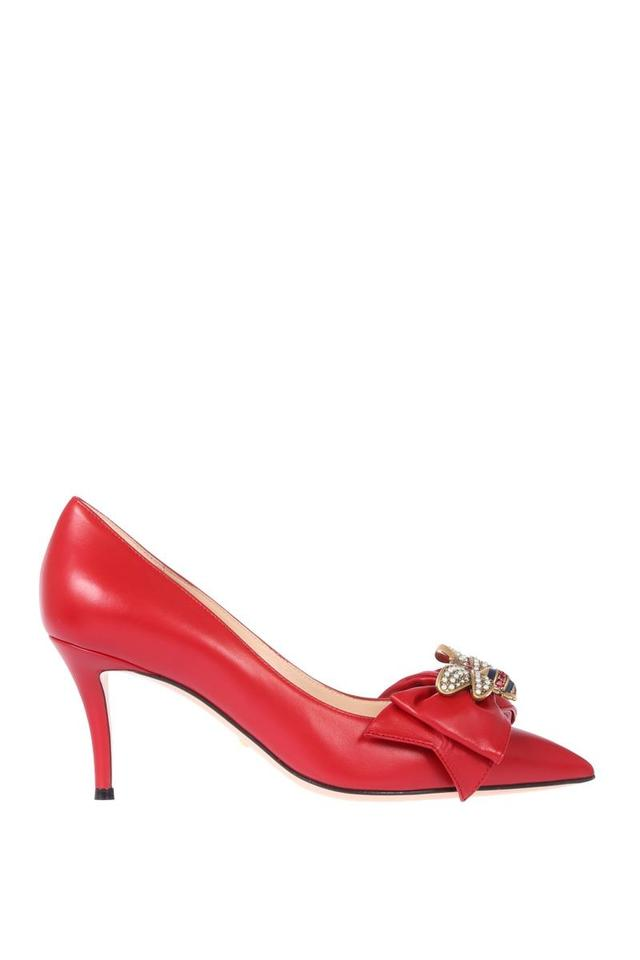 bbf4436497e Gucci Red Leather Mid-heel with Bow Pumps Size EU 37 (Approx. US 7 ...