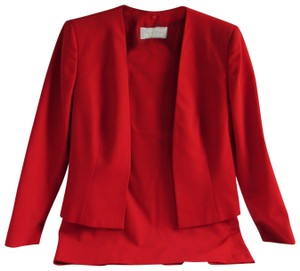 Valentino VALENTINO Roma Red 2 Piece Wool Jacket & Skirt Set Size US 12 Italy