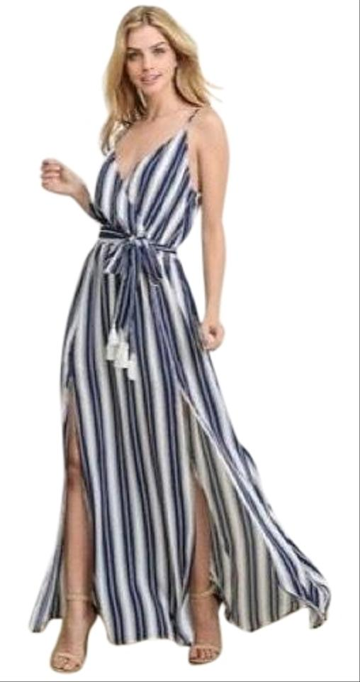 Ivory Navy Nautical Stripe Elastic Waist Faux Wrap Front Long Casual