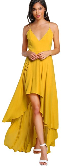 Item - Yellow Backless High Low Cami Long Casual Maxi Dress Size 2 (XS)