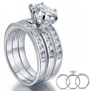 Other Exquisite 3pcs set 3.5 carat VVS1 lab created diamond Solid 925 Sterling Silver Engagement/anniversary/wedding rings