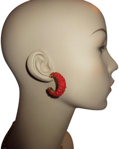 Kenneth Jay Lane New KJL Red Beaded Hoop Earrings Signed with Pouch