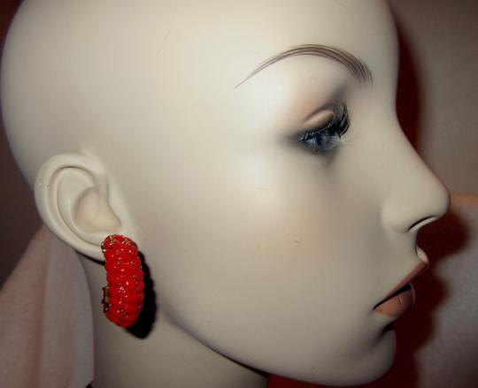 Kenneth Jay Lane New KJL Red Beaded Hoop Earrings Signed with Pouch Image 10