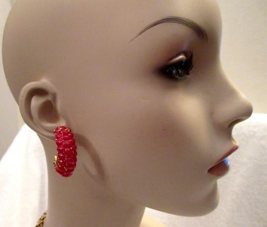 Kenneth Jay Lane New KJL Red Beaded Hoop Earrings Signed with Pouch Image 11