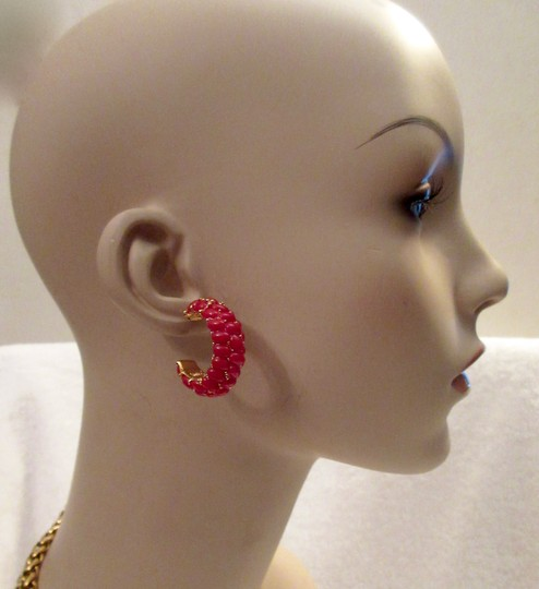 Kenneth Jay Lane New KJL Red Beaded Hoop Earrings Signed with Pouch Image 5