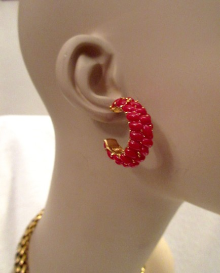 Kenneth Jay Lane New KJL Red Beaded Hoop Earrings Signed with Pouch Image 8