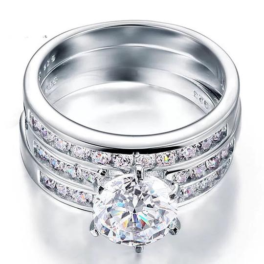 Other 3pcs set 3.5 carat VVS1 lab created diamond Solid 925 Sterling Silver Engagement/anniversary/wedding rings Image 1