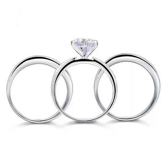 Other 3pcs set 3.5 carat VVS1 lab created diamond Solid 925 Sterling Silver Engagement/anniversary/wedding rings Image 2