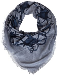 Gucci Gucci Periwinkle Blue Wool Blend Horsebit Print Square Shawl Scarf