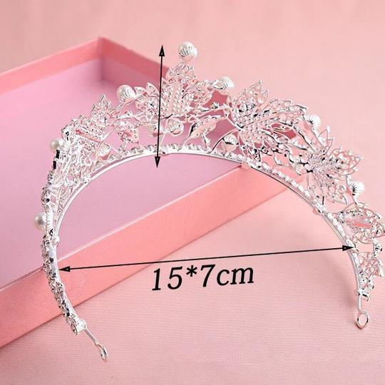 Other Stunning Shiny Full Crystal Beads Pearl Maple Leaf Bridal Tiaras Wedding Crown Image 5