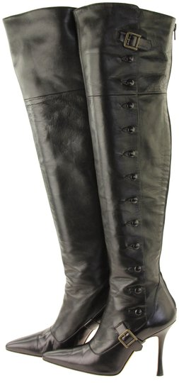 Manolo Blahnik Thigh High Over The Knee Black Boots Image 0