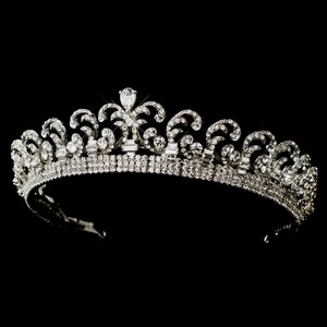 Elegance by Carbonneau Antique Silver Clear Royal Kate Middleton Inspired Halo Tiara