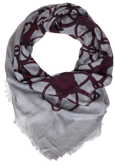 Gucci Gucci Grey Bordeaux Wool Blend Horsebit Print Square Shawl Scarf Image 2