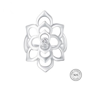 Other Romantic 100% 925 Sterling Silver Shining CZ Blooming Flower Ring