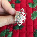 Other Romantic 100% 925 Sterling Silver Shining CZ Blooming Flower Ring Image 1