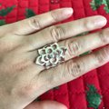 Other Romantic 100% 925 Sterling Silver Shining CZ Blooming Flower Ring Image 2
