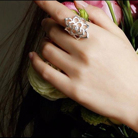 Other Romantic 100% 925 Sterling Silver Shining CZ Blooming Flower Ring Image 4