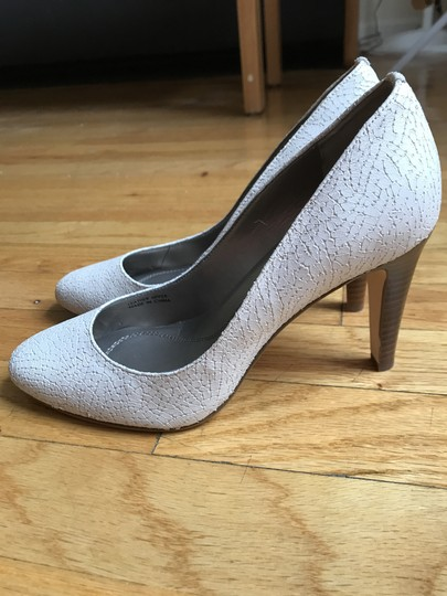 Tahari Leather Stacked Heel Comfort White Pumps Image 1