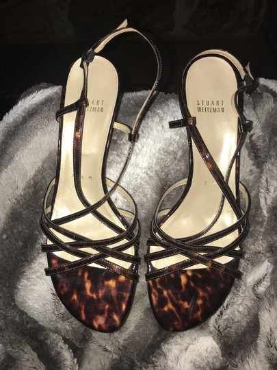 Stuart Weitzman Strappy Caged Patent Leather tortoise Sandals Image 2