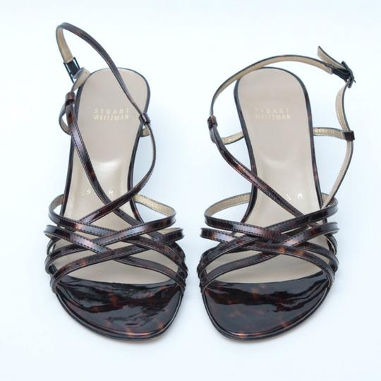Stuart Weitzman Strappy Caged Patent Leather tortoise Sandals Image 9