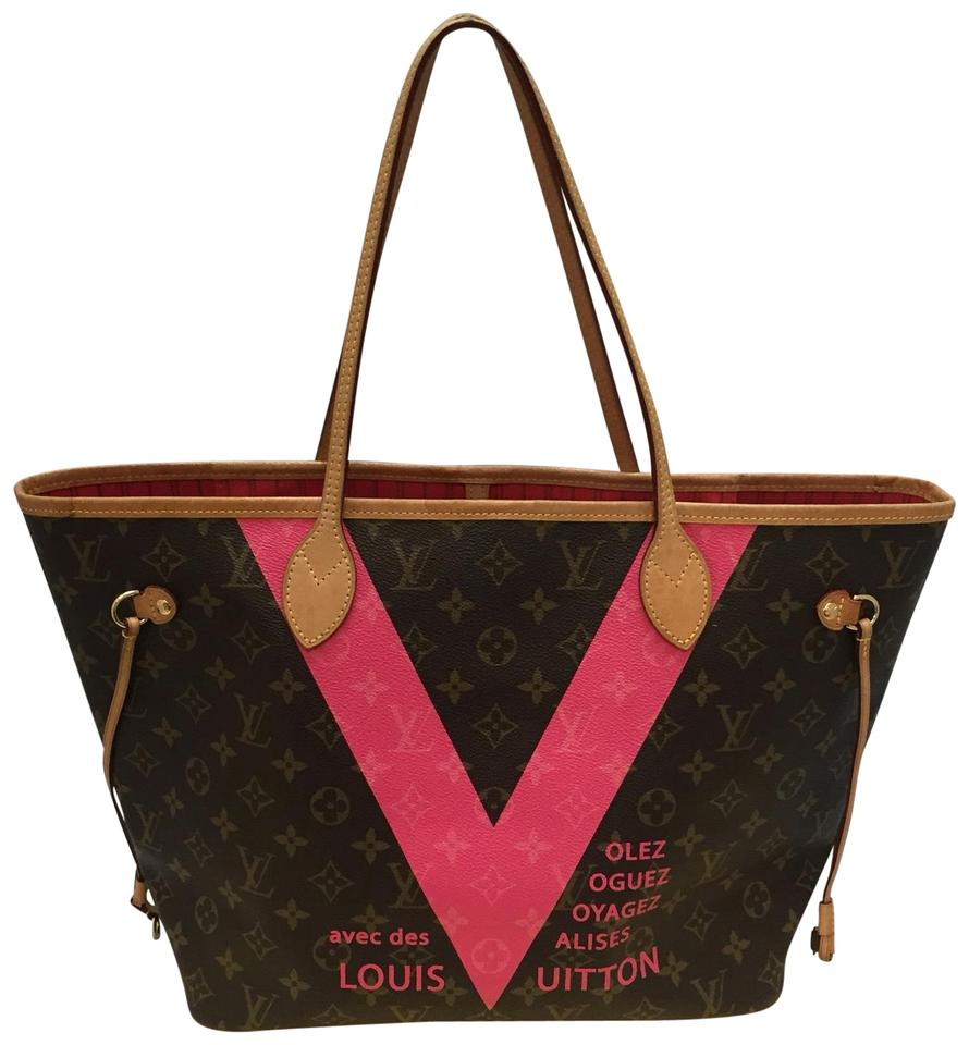 839918ef4843 Louis Vuitton Neverfull Mm Limited Edition V Pink Brown Monogram Canvas Tote