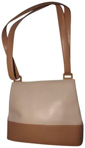 Salvatore Ferragamo Mint Vintage Dressy Or Casual Bucket Bag/Satchel Grear For Everyday Satchel in color block in white and taupe leather