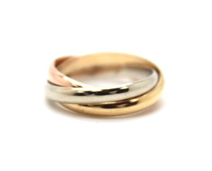 Cartier #16736 18K Trinity white gold yellow rose pink gold ring size 3.5