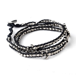 Elegance by Carbonneau Black Gray Cord And Beaded Fleur De Lis Fashion Bracelet