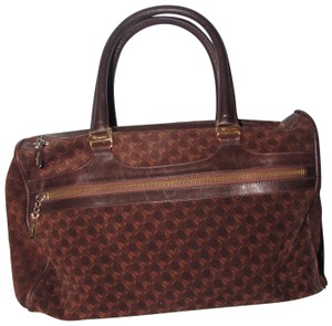 Salvatore Ferragamo Multiple Pockets Mint Condition Early Gold Vera Accents Great For Everyday Satchel in rich shades of brown logo print suede and browm leather
