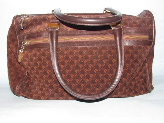 Salvatore Ferragamo Multiple Pockets Mint Condition Early Gold Vera Accents Great For Everyday Satchel in rich shades of brown logo print suede and browm leather Image 1