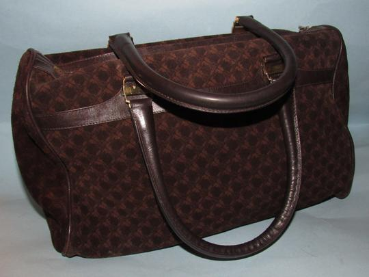 Salvatore Ferragamo Multiple Pockets Mint Condition Early Gold Vera Accents Great For Everyday Satchel in rich shades of brown logo print suede and browm leather Image 10
