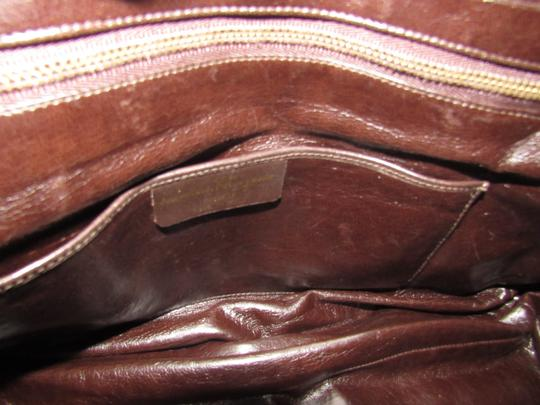 Salvatore Ferragamo Multiple Pockets Mint Condition Early Gold Vera Accents Great For Everyday Satchel in rich shades of brown logo print suede and browm leather Image 4