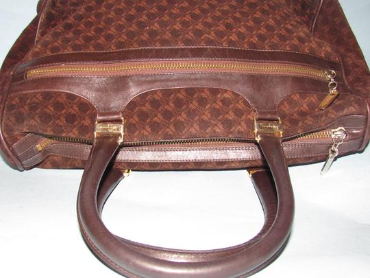 Salvatore Ferragamo Multiple Pockets Mint Condition Early Gold Vera Accents Great For Everyday Satchel in rich shades of brown logo print suede and browm leather Image 6