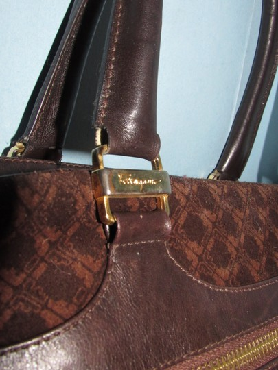 Salvatore Ferragamo Multiple Pockets Mint Condition Early Gold Vera Accents Great For Everyday Satchel in rich shades of brown logo print suede and browm leather Image 8