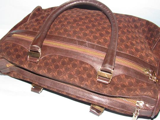 Salvatore Ferragamo Multiple Pockets Mint Condition Early Gold Vera Accents Great For Everyday Satchel in rich shades of brown logo print suede and browm leather Image 9
